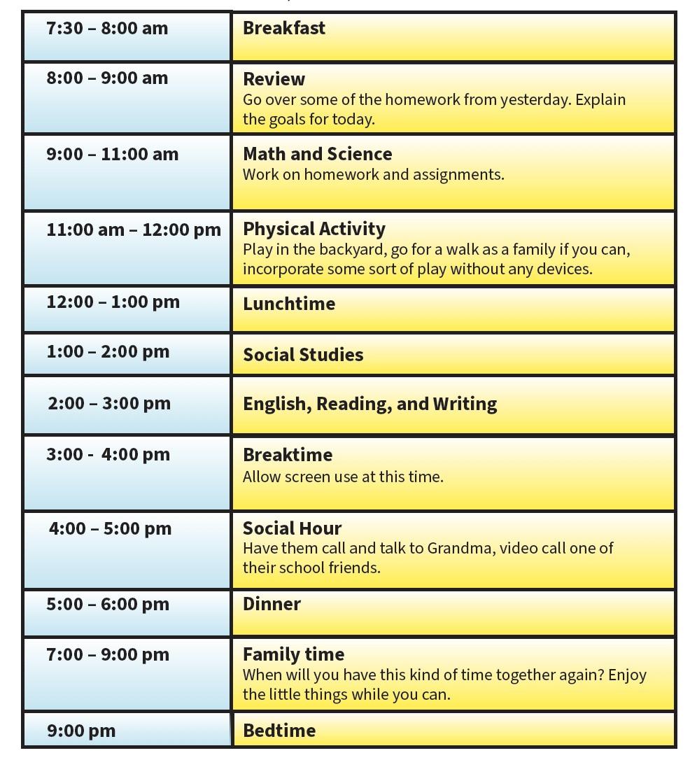student summer schedule